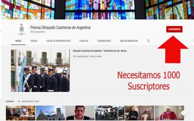 Mons. Olivera | Deseamos transmitir en vivo desde YouTube y para ello necesitamos que nos ayudes a tener más suscriptores en nuestro canal